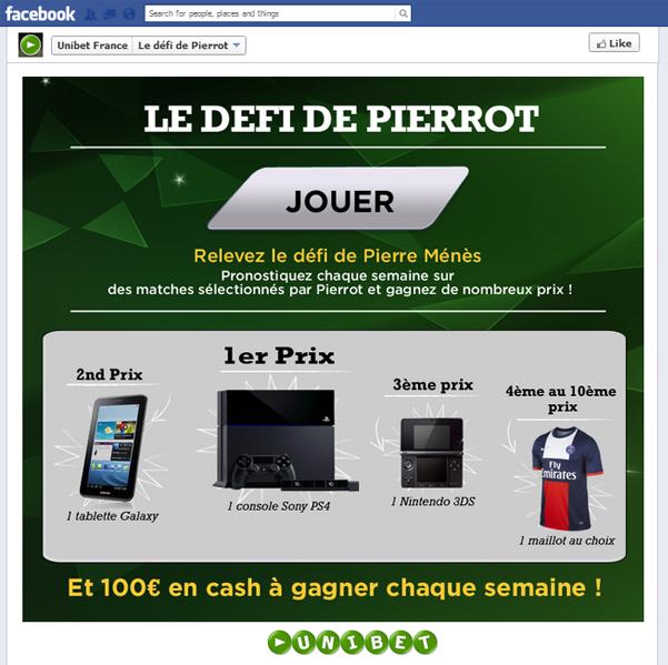 Unibet: Défi Facebook