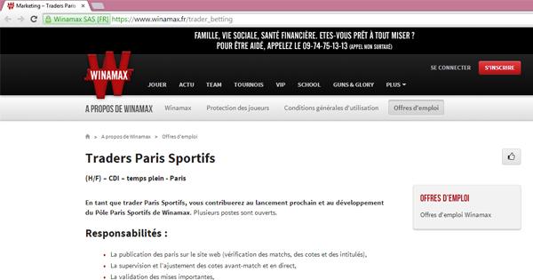 Winamax : Trader paris sportifs