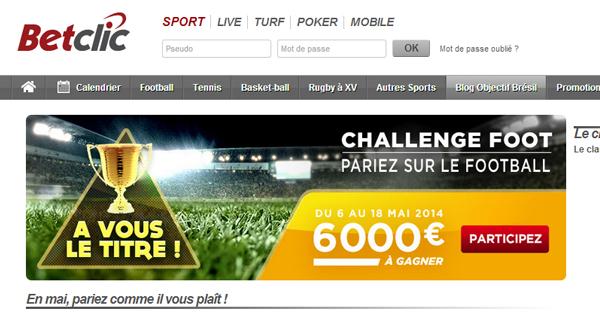 BetClic : Challenge football en mai