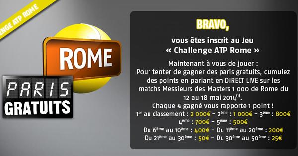 Challenge tennis : ATP Rome PMU