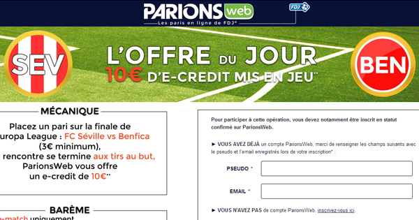 ParionsWeb : 10€ sur l'Europa League