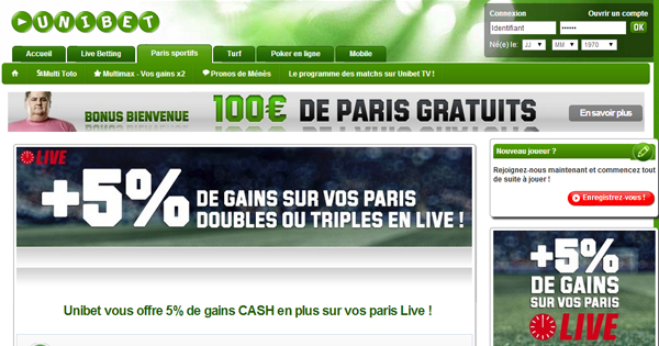 Unibet  : Paris en direct, 5% de bonus