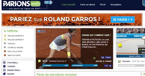 ParionsWeb : Concours Roland Garros 2014