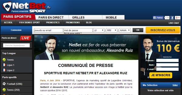 Alexandre Ruiz, ambassadeur Netbet Sport