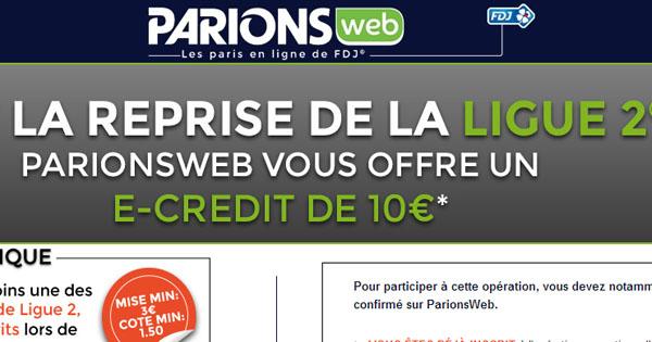 ParionsWeb : 10 euros gratuits sur la Ligue 2