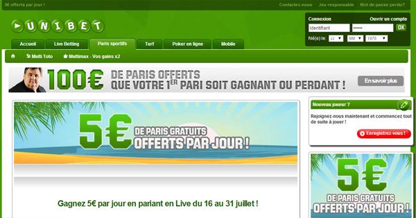 Unibet : 5 euros par jour