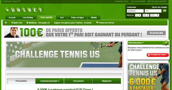 Challenge Tennis : Unibet et l'US Open
