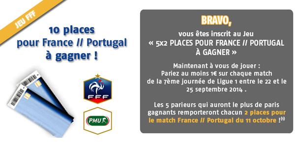 PMU : 10 places pour France Portugal