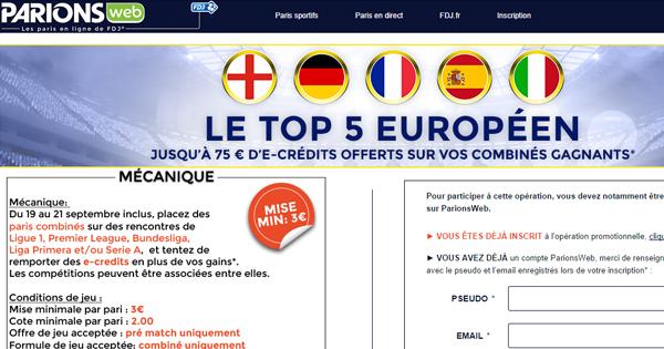 ParionsWeb : Top 5 européen