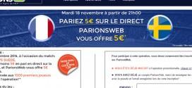 ParionsWeb : Freebet sur France Suède