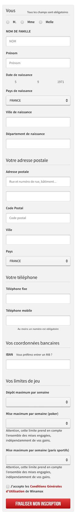 Inscription smartphone Winamax